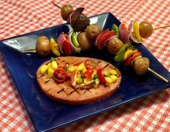 Grilled Ham Steaks with Maple Glaze & Peach Salsa
