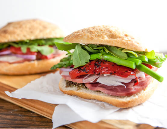 Ham & Asparagus Picnic Sandwiches Recipe