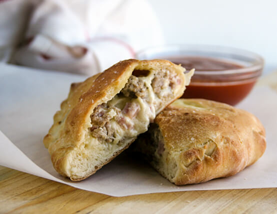 Ham and Sausage Calzones Recipe