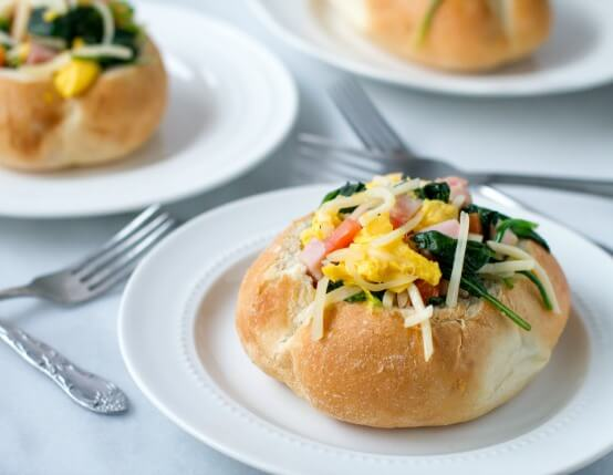 Ham and Swiss Breakfast Bread Bowls Recipe
