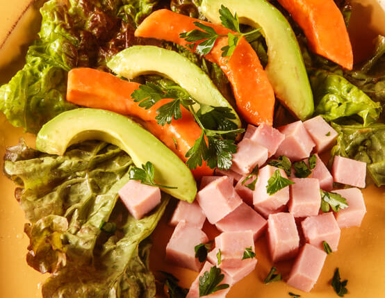 Ham, Avocado and Papaya Salad with Citrus Splash Recipe