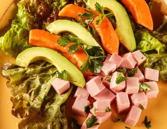 Ham, Avocado and Papaya Salad with Citrus Splash Recipe