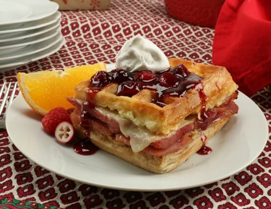 Ham & Swiss Waffle Strata