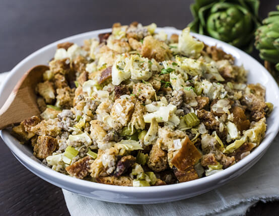 Artichoke Sourdough Stuffing with Sausage Recipe
