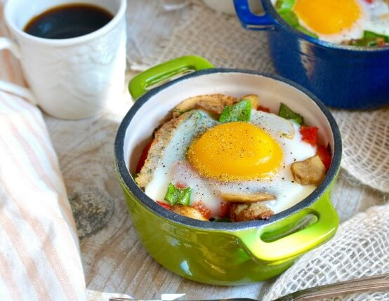 Baked Mushroom and Chicken Sausage Bowls