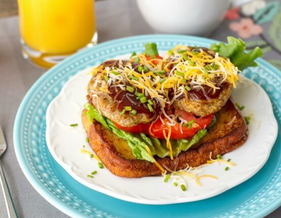 BBQ Breakfast Sandwich on French Toast Recipe