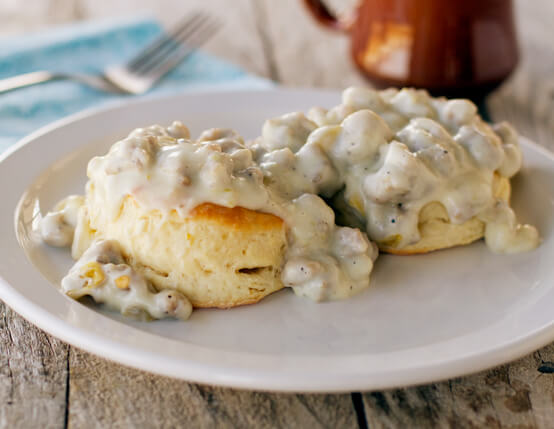 Biscuits with Green Chile Sausage Gravy Recipe