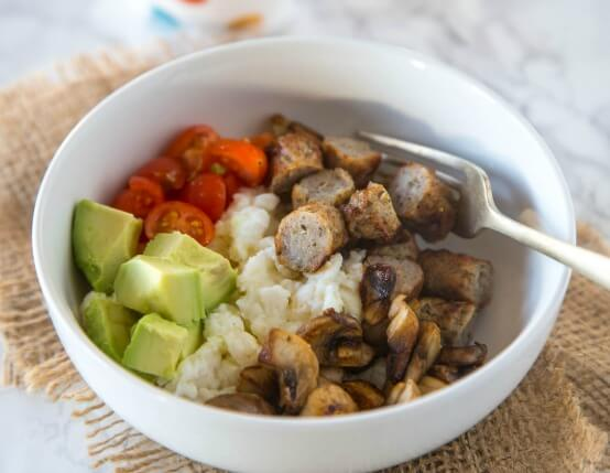 Chicken Sausage and Egg White Breakfast Bowl Recipe