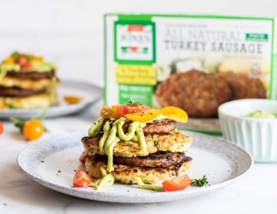 Cauliflower Fritter Sausage Stacks