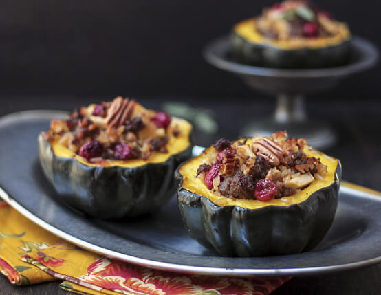 Cranberry, Sausage & Apple Stuffed Acorn Squash Recipe