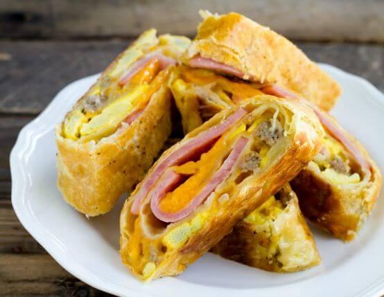 Ham and Sausage Breakfast Stromboli Recipe