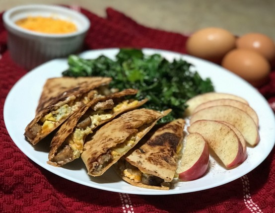 One Pan Sausage and Apple Breakfast Quesadillas