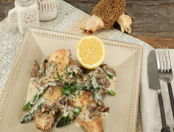 Pan Fried Trout with Sausage Morel Cream Sauce and Asparagus web