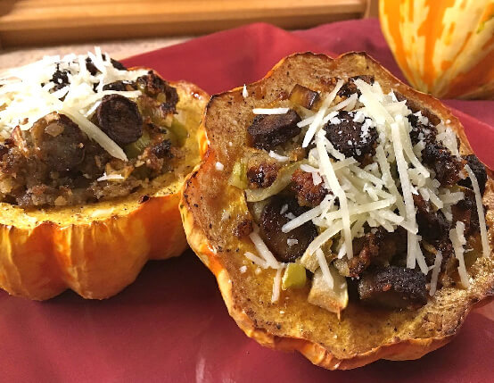 Savory Sausage & Apple Stuffed Acorn Squash