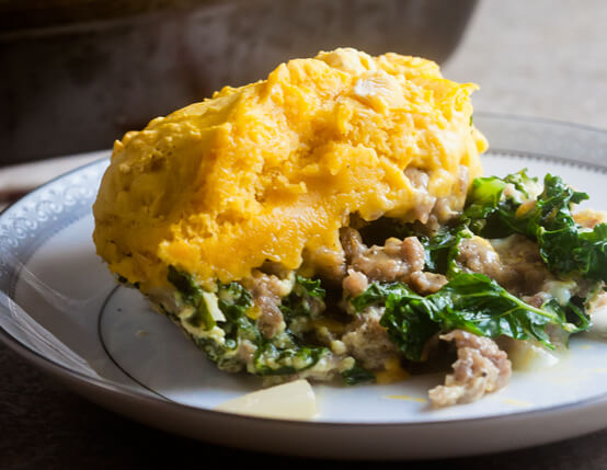 Sausage and Kale Breakfast Casserole with Biscuit Topping Recipe