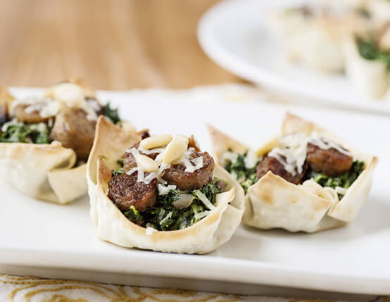 Sausage and Spinach Wonton Cups