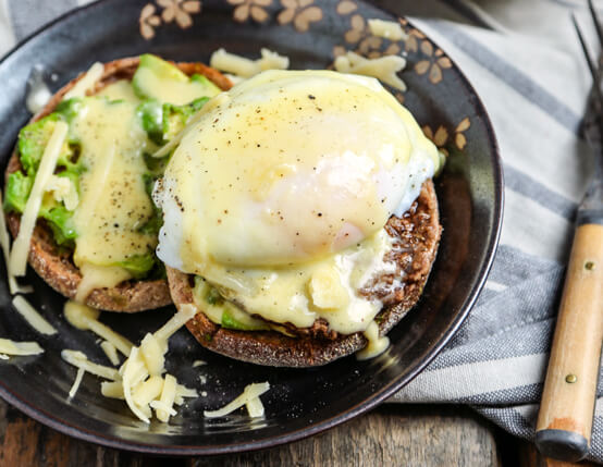 Sausage Avocado Benedict with White Cheddar Hollandaise Recipe
