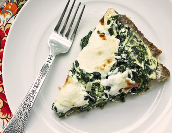 Sausage-Crusted Quiche with Spinach & Mozzarella Recipe