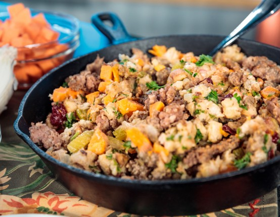 Skillet Sausage & Sweet Potato Stuffing