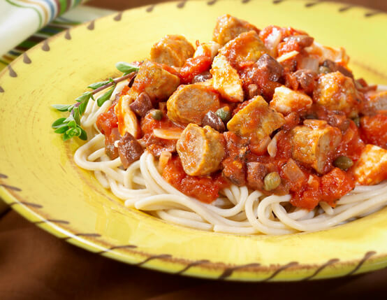 Spaghetti Puttanesca with Sausage