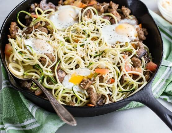 Spiralized Zucchini and Breakfast Sausage Skillet Recipe