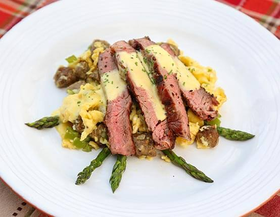 Steak & Eggs with Sausage and Hollandaise