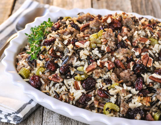 Wild Rice, Dried Cherry and Jones Sausage Stuffing Recipe