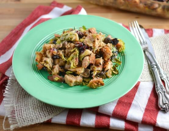 Recipe for Brussels Sprouts, Jones Bacon and Cranberry Stuffing