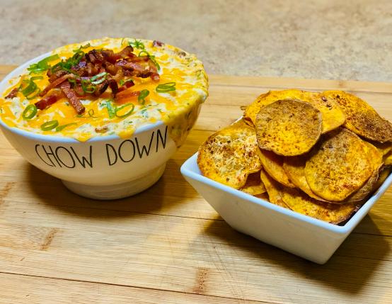 Air Fryer Sweet Potato Chips & Creamy Hot Bacon Dip