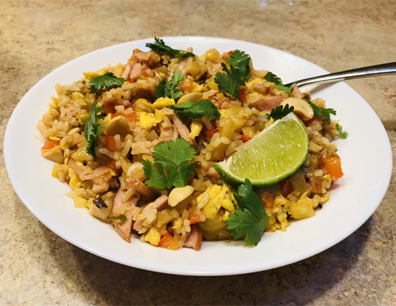 Canadian Bacon Fried Rice with Pineapple