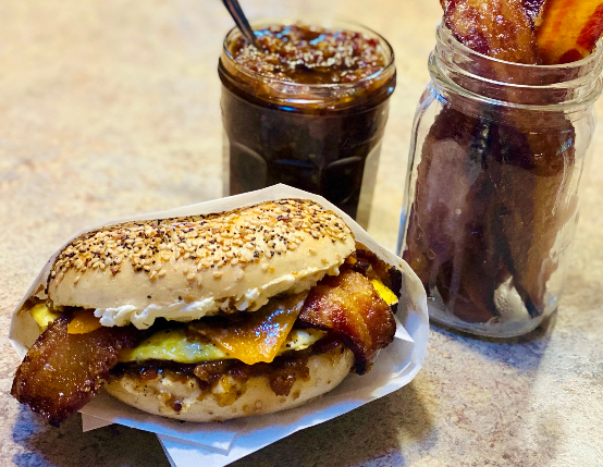 Candied Bacon Breakfast Bagel with Bourbon Bacon Jam