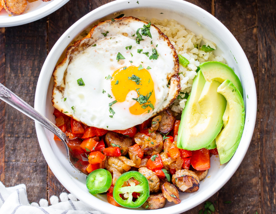 Chicken Sausage Breakfast Burrito Bowls