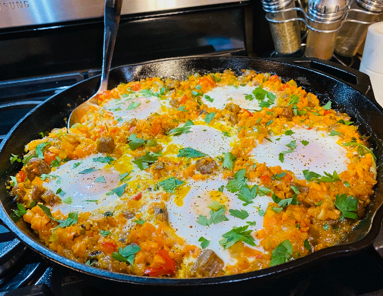 One Skillet Chicken Sausage & Sweet Potato Hash