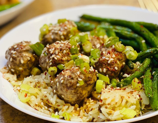 Thai Pork Meatballs with Coconut Ginger Rice