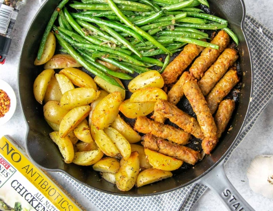 One Pan Sausage Green Beans and Potato Skillet