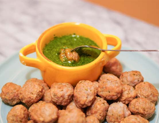 Roasted Chicken Meatballs with Herby Dipping Sauce