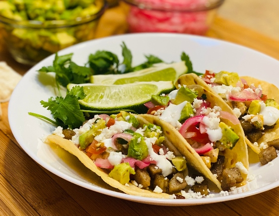 Sausage & Street Corn Tacos with Pickled Red Onion and Avocado