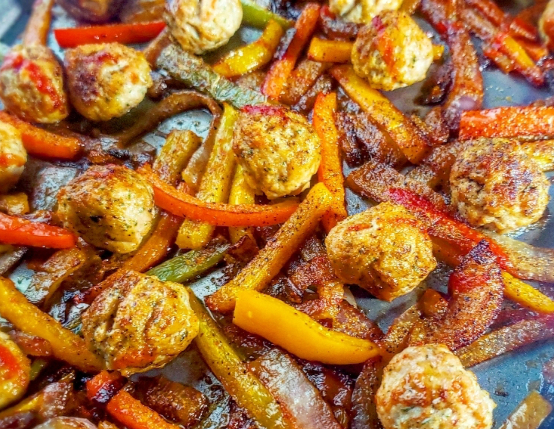 Sheet Pan Chicken Meatball Fajitas