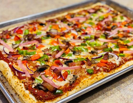 Gluten-Free Canadian Bacon & Veggie Sheet Pan Pizza