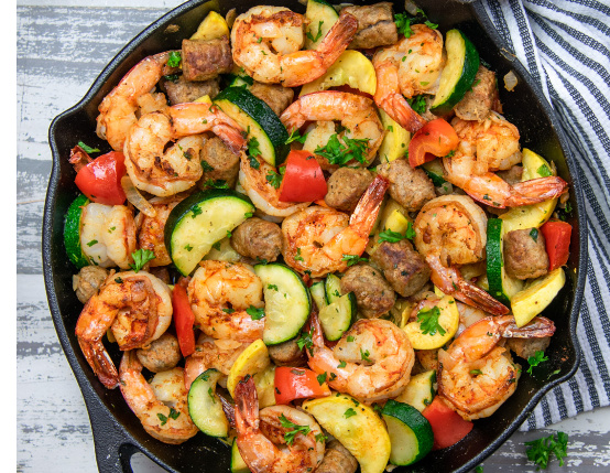 Garlic Shrimp and Sausage Skillet