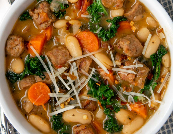 Tuscan Turkey Sausage and Bean Soup