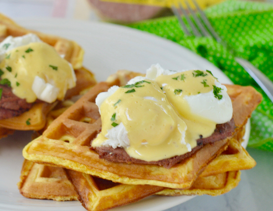 Low Carb Waffle Benedict with Braunschweiger